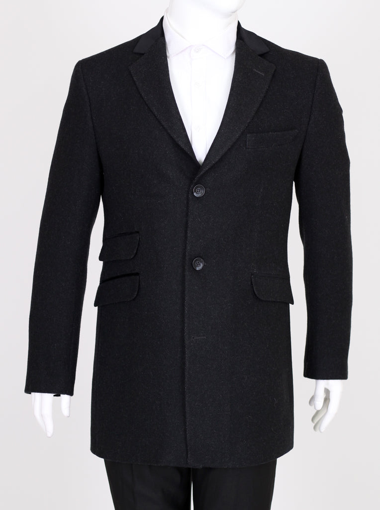 Peaky Blinders - Black Wool Tweed Overcoat