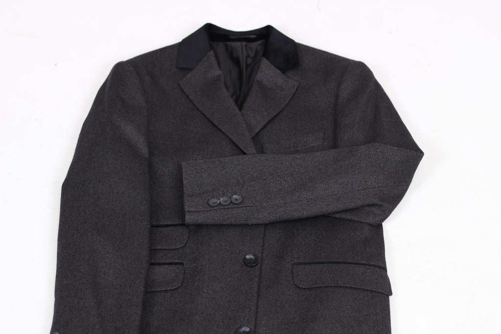 Peaky Blinders - Black & Grey Diagonal Wool Tweed Overcoat