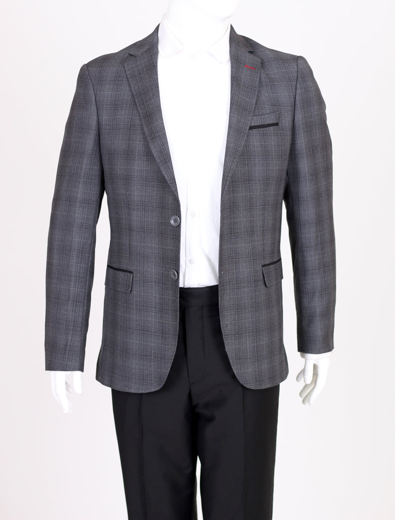 Grey Deluxe Italian Wool Check Semi-Slim Fit Blazer