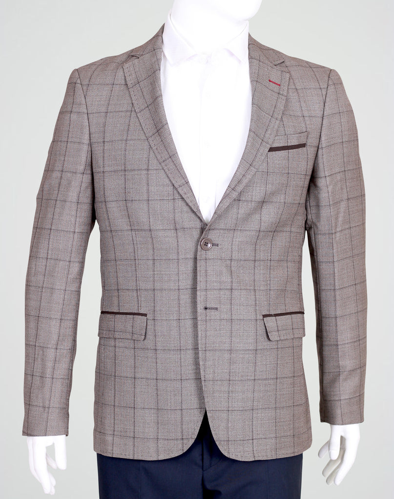 Brown Deluxe Italian Wool Check Semi-Slim Fit Blazer