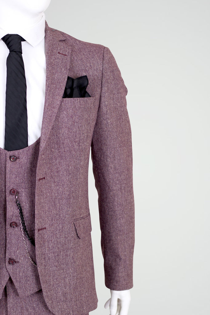 Peaky Blinders Pale Burgundy Tweed 3 Piece Suit