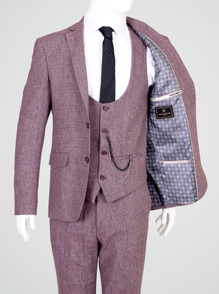 Peaky Blinders Pale Burgundy Tweed 3 Piece Suit - Jack Martin Menswear