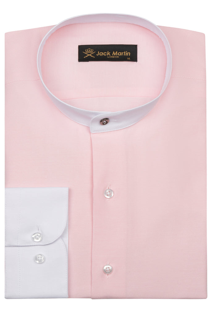 CHAMBRAY - Pink Smart Casual Collarless/Grandad Collar Shirt