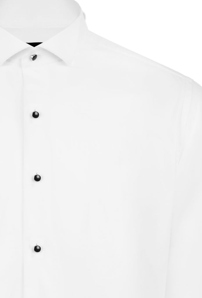 WING COLLAR - White Cotton Wing Collar Double Cuff Dress Shirt