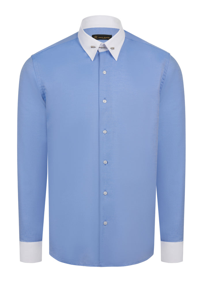 PIN COLLAR - Royal Blue Oxford Pin Collar Shirt