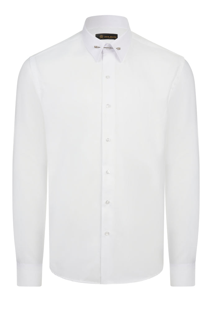 PIN COLLAR - White Oxford Pin Collar Shirt