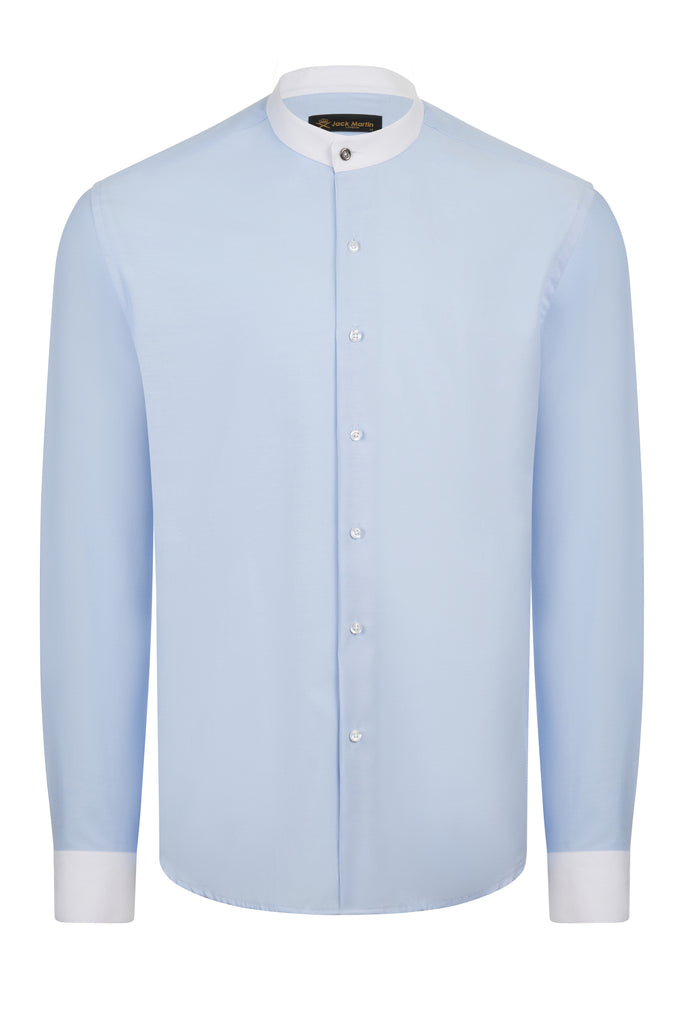 CHAMBRAY - Blue Smart Casual Collarless/Grandad Collar Shirt