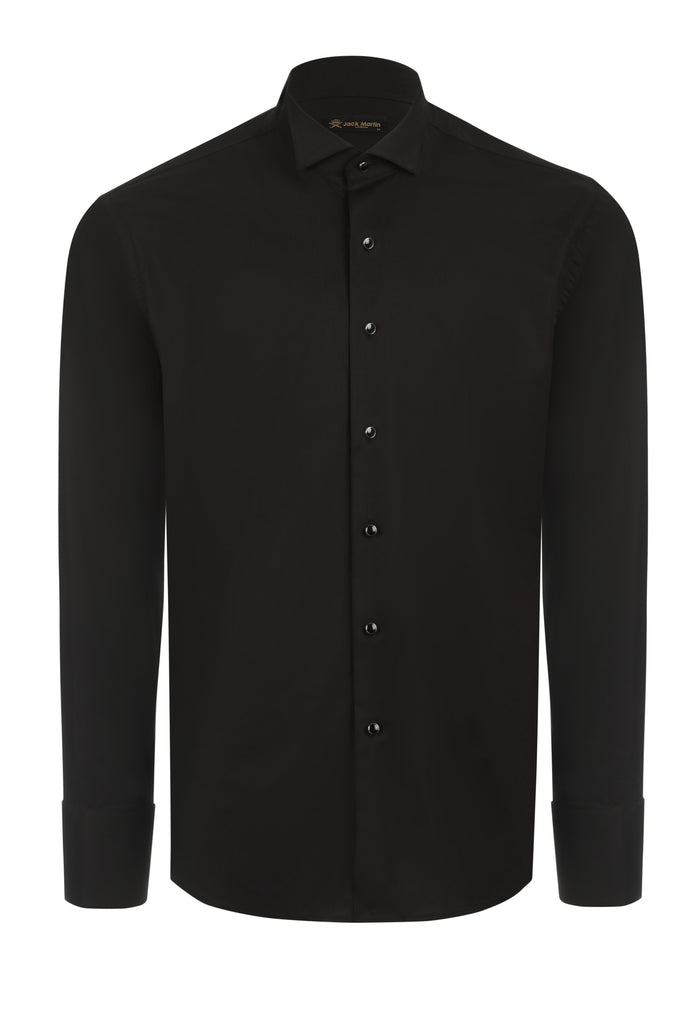 WING COLLAR - Black Cotton Wing Collar Double Cuff Dress Shirt