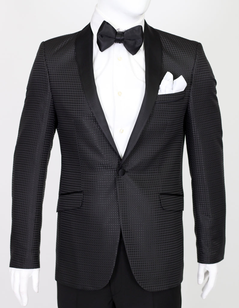 Black Diamond Jacquard Dinner Jacket with Satin Shawl Collar - Jack Martin Menswear