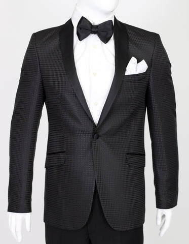 Black Diamond Jacquard Dinner Suit with Satin Shawl Collar