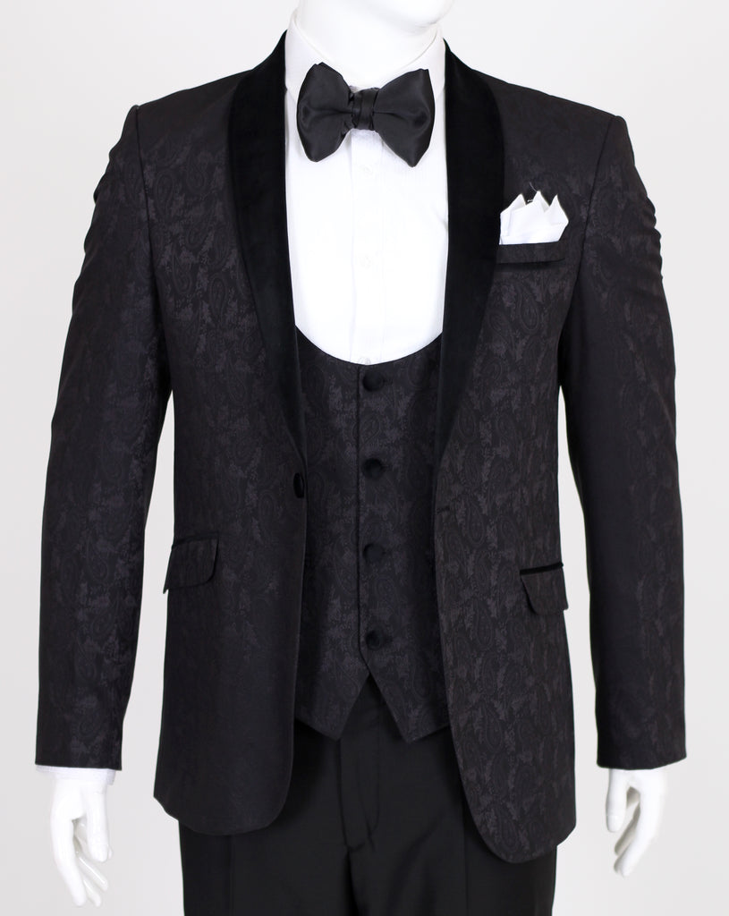 Black Paisley 3 Piece Suit with Black Velvet Collar