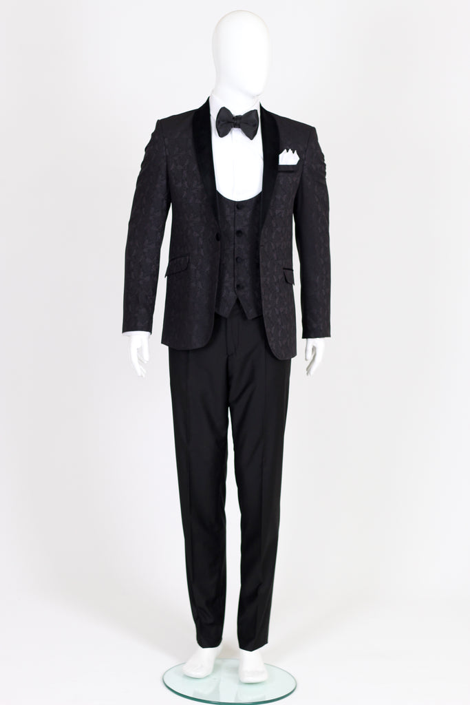Black Paisley Dinner Jacket with Black Velvet Collar