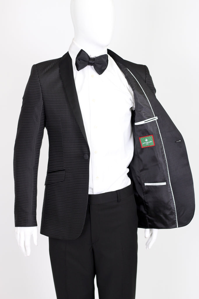Black Diamond Jacquard Dinner Jacket with Satin Shawl Collar