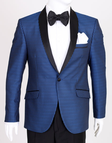 Blue Diamond Jacquard Dinner Jacket with Satin Shawl Collar