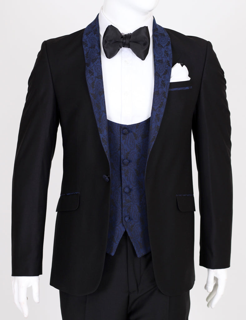 Black Dinner Jacket with Blue Paisley Shawl Lapel