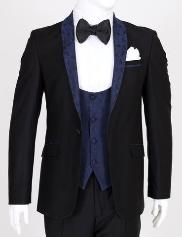 Black 3 Piece Dinner Suit with Blue Paisley Lapel