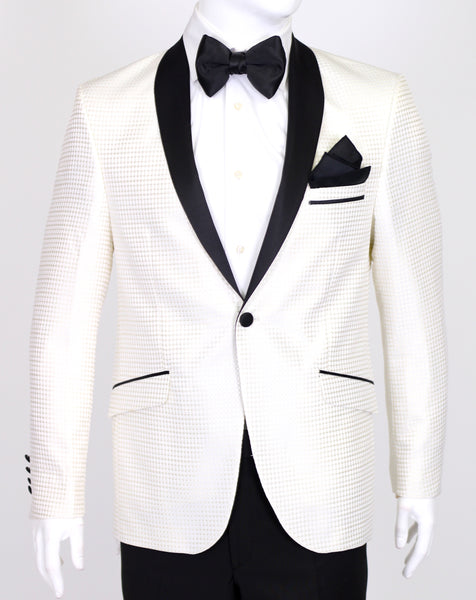 Champagne Diamond Jacquard Dinner Suit with Satin Shawl Collar