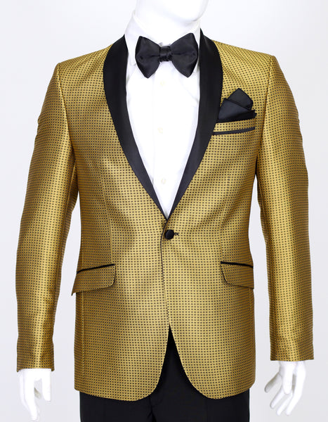 Gold Patterned Jacquard Dinner Suit with Satin Shawl Collar