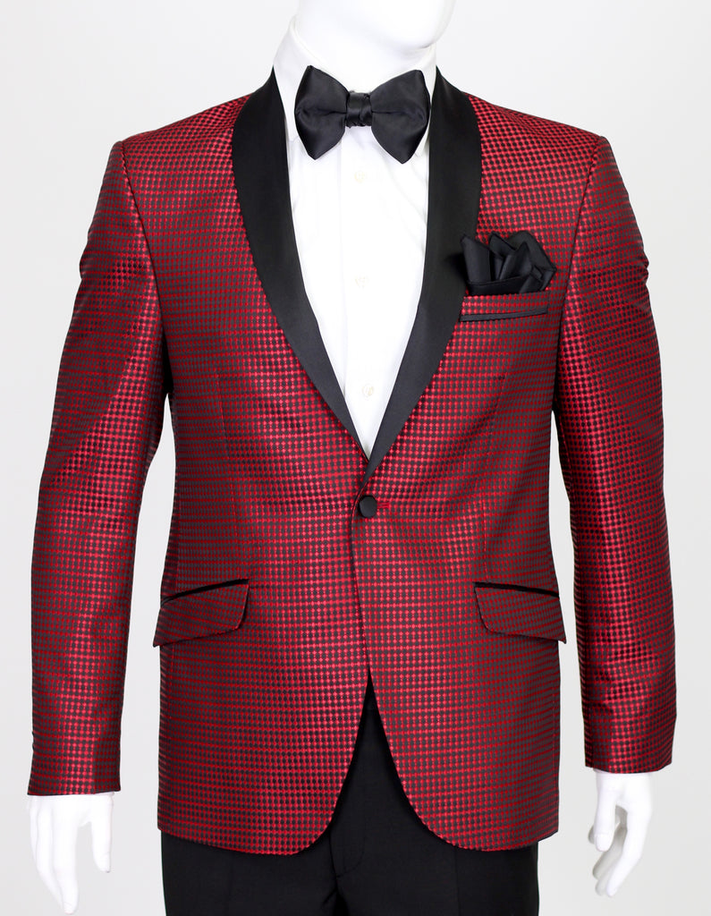 Red Diamond Jacquard Dinner Jacket with Satin Shawl Collar
