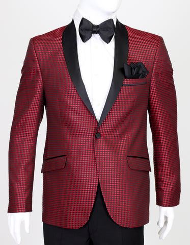 Red Diamond Jacquard Dinner Suit with Satin Shawl Collar