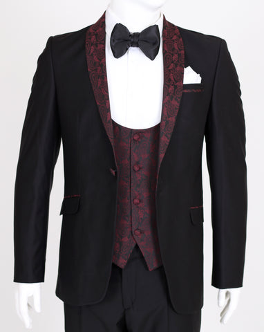 Black Dinner Jacket with Red Paisley Shawl Lapel
