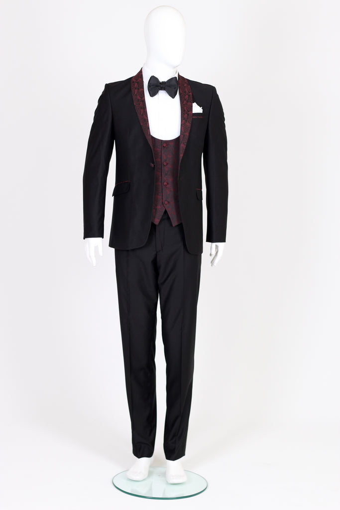 Black 3 Piece Dinner Suit with Red Paisley Lapel - Jack Martin Menswear