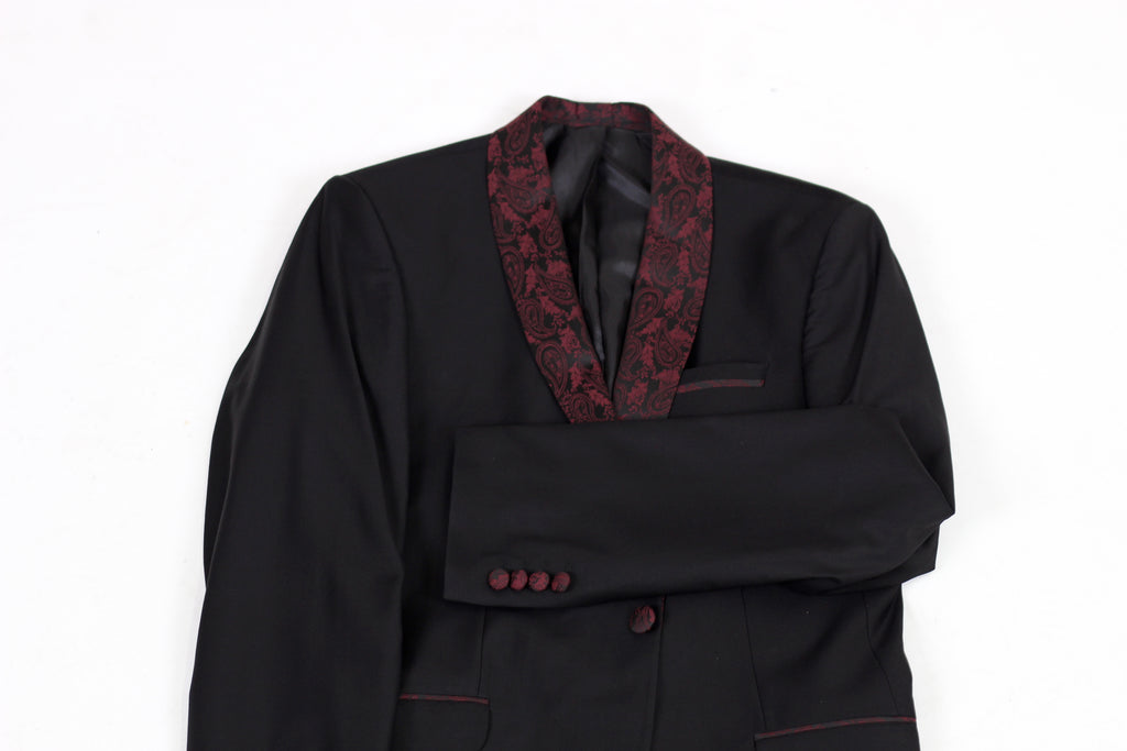 Black 3 Piece Dinner Suit with Red Paisley Lapel