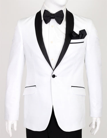 White Diamond Jacquard Dinner Suit with Satin Shawl Collar