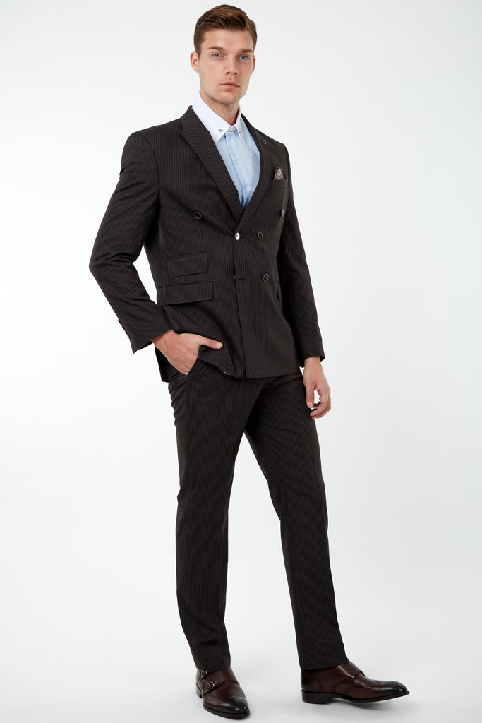 EDWARD - Brown Pinstripe Tailored Fit Double Breasted Suit