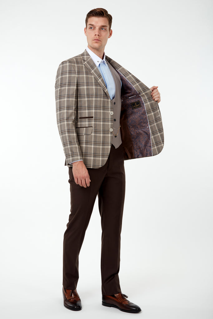 VIBRANT - Brown Bold Check Blazer with Suede Pocket Trims