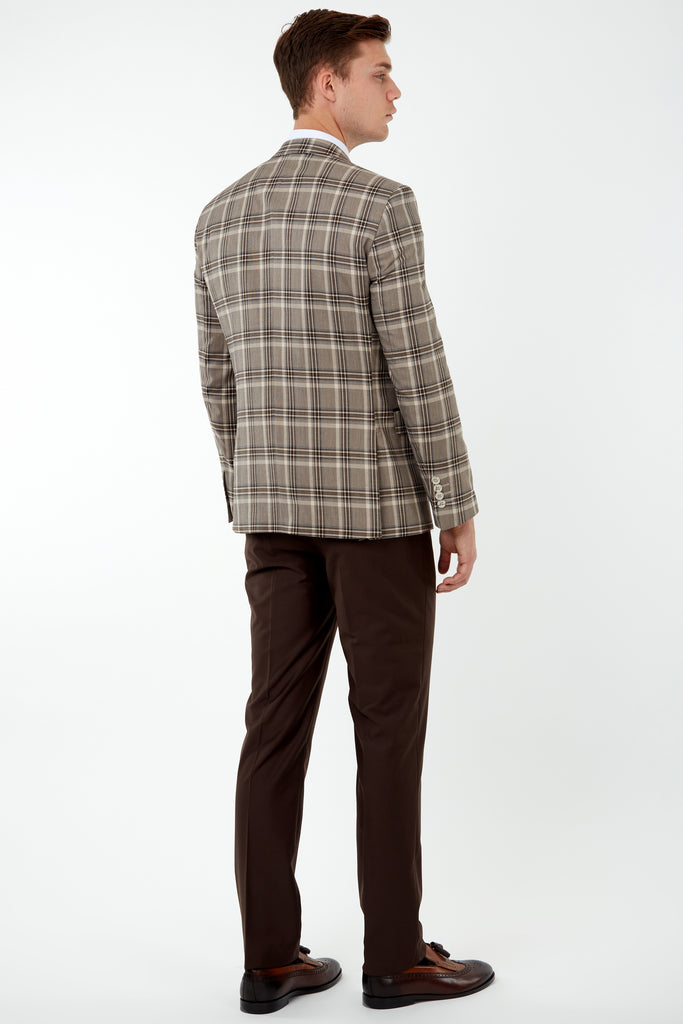 VIBRANT - Brown Bold Check 3 Piece Mix & Match Suit