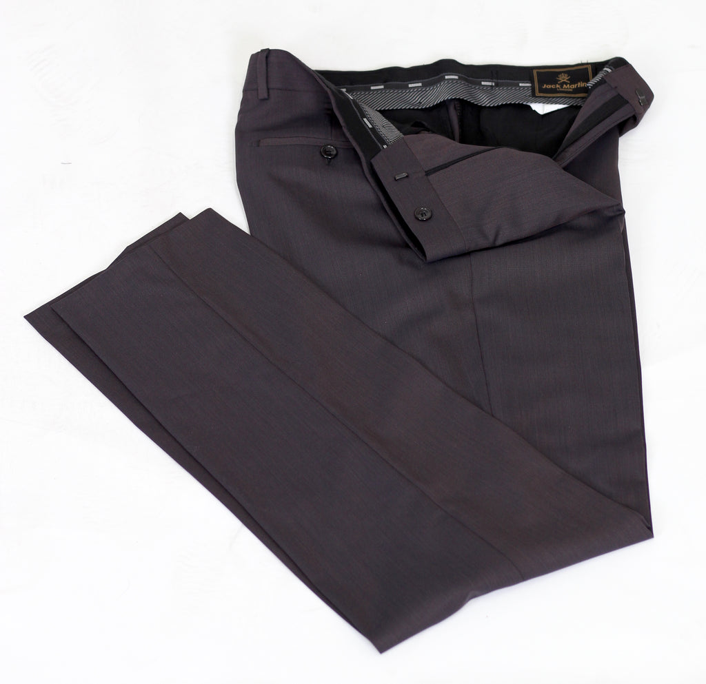 Bronze Brown Semi Plain Slim Fit Suit Trousers (PERCY)