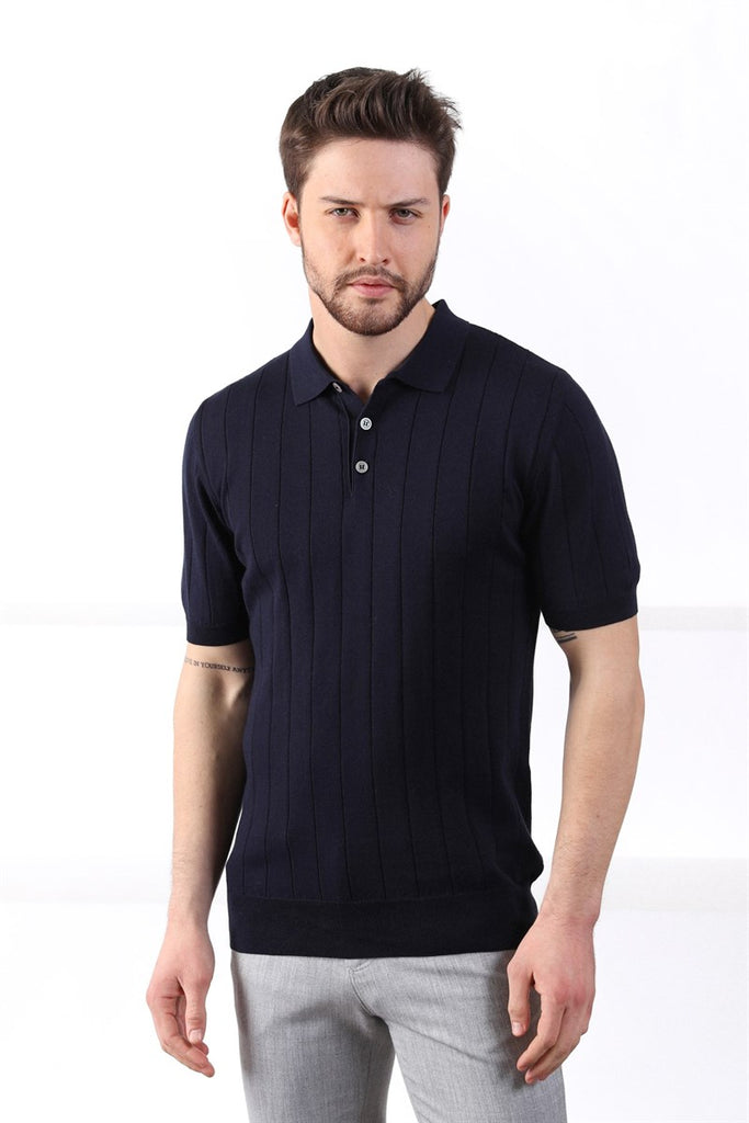 ROMAN - Navy Stripe Knitted Polo Shirt