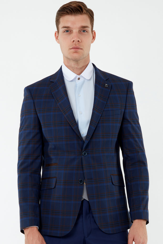 VIBRANT - Blue Bold Check Blazer with Suede Pocket Trims