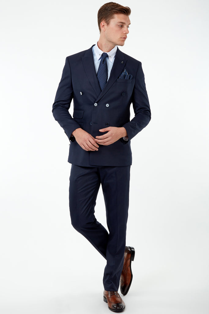 SAMUEL - Navy Twill Tailored Fit Double Breasted Suit