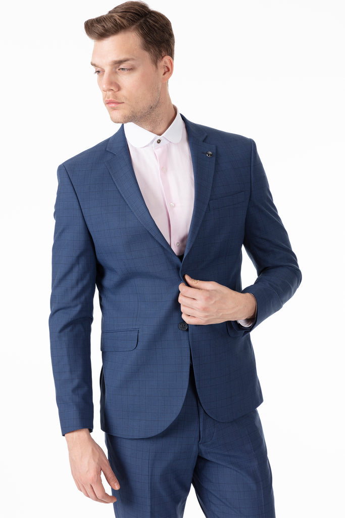 HENRY - Blue Prince of Wales (Glen) Check 3 Piece Suit - Jack Martin Menswear