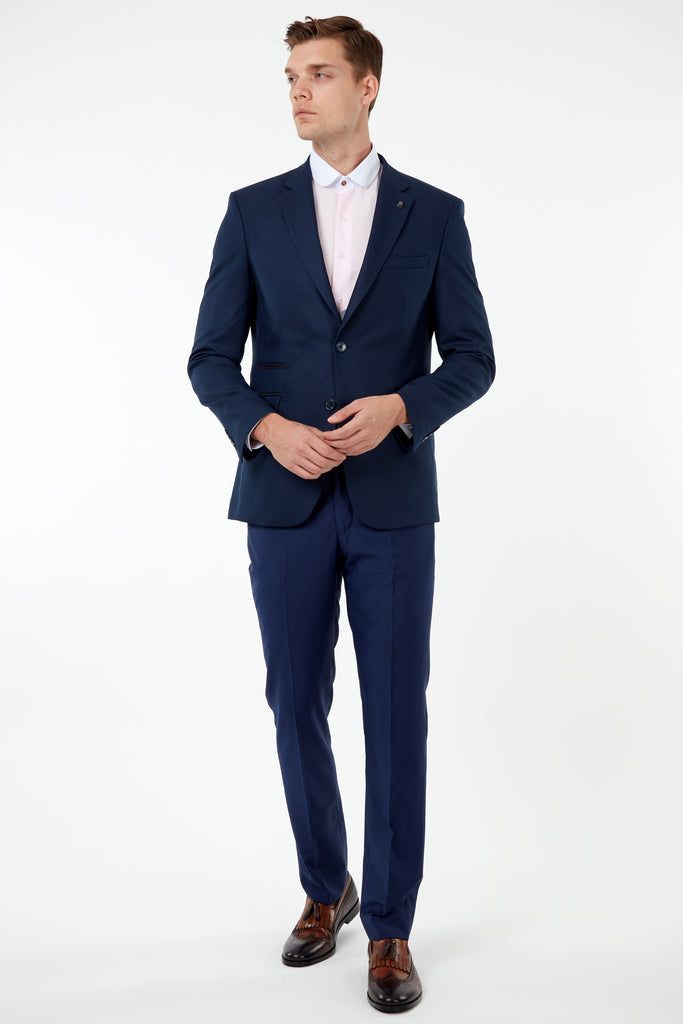 JACKIE - Blue Birdseye Blazer with Suede Pocket Trims