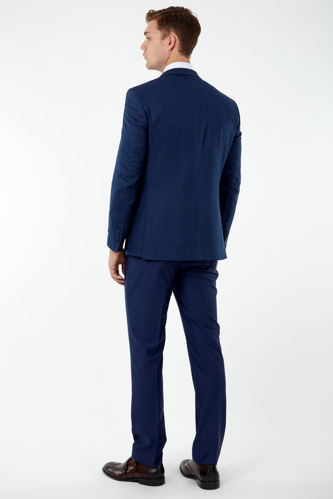 HARPER - Blue Micro Check Blazer with Suede Pocket Trims