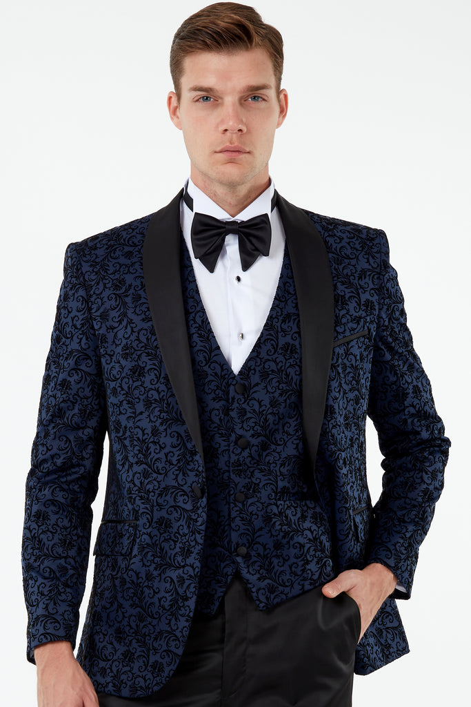 FLORAL - Midnight Blue Printed Velvet 3 Piece Suit / Tuxedo