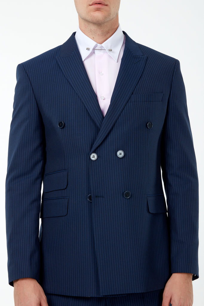 EDWARD - Blue Pinstripe Tailored Fit Double Breasted Suit