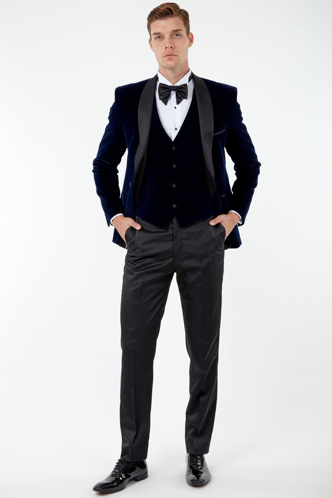 GABRIEL - Midnight Blue Velvet 3 Piece Suit / Tuxedo