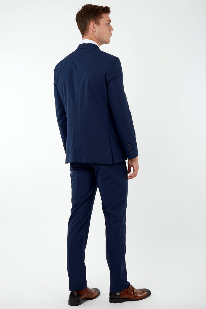 SAMUEL - Blue Semi-Plain Tailored Fit Double Breasted Suit