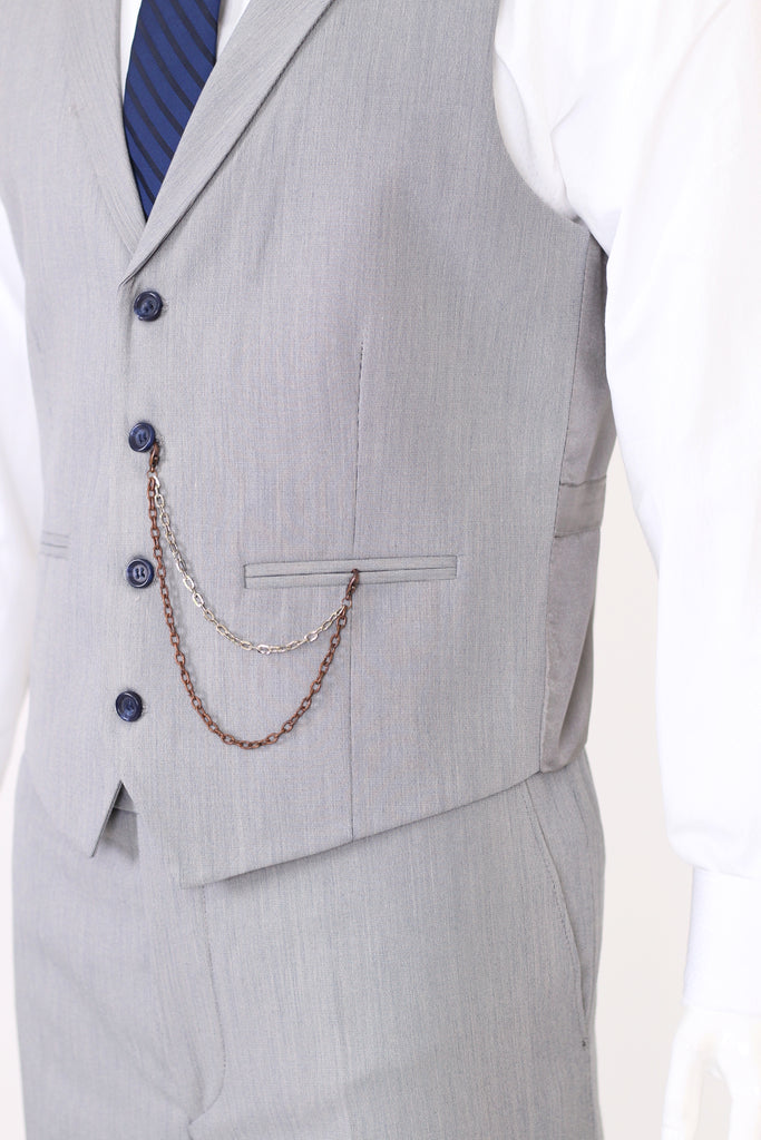 Grey & Blue Textured Collared Suit Waistcoat (PERCY) - Jack Martin Menswear