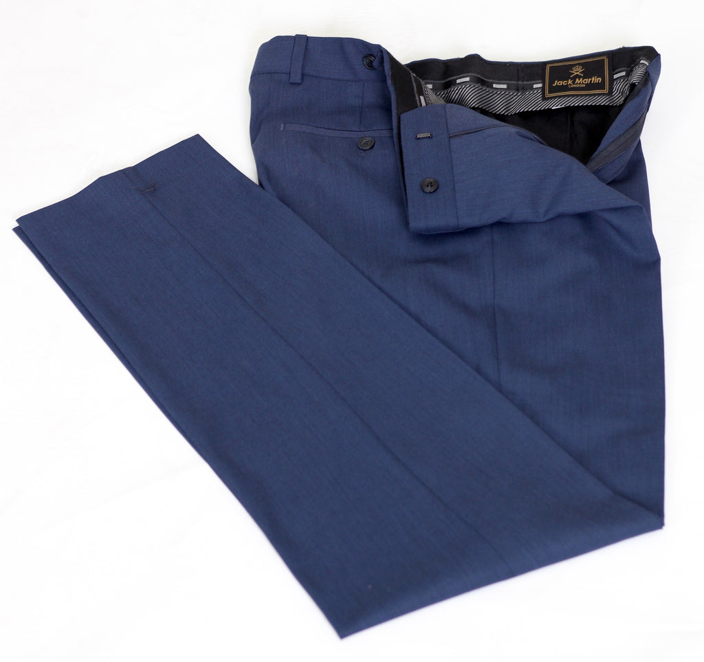 Blue Semi Plain Slim Fit Suit Trousers (PERCY) - Jack Martin Menswear