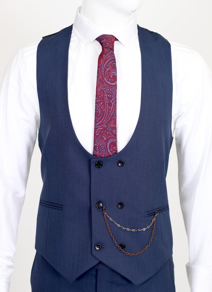 Blue Semi Plain Double Breasted Suit Waistcoat (PERCY) - Jack Martin Menswear