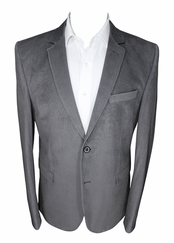 Mid-Grey Velvet Slim Fit Blazer