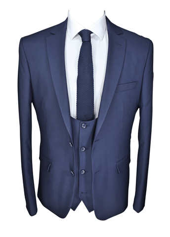 Navy 3 Piece 100% Wool Suit
