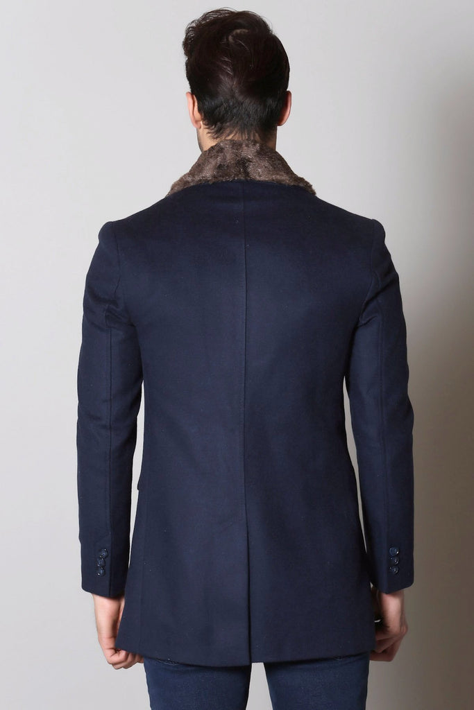 Navy Wool Overcoat with Faux Fur - Jack Martin Menswear