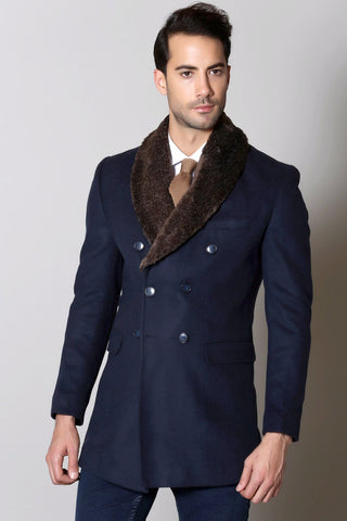 Navy Wool Overcoat with Faux Fur