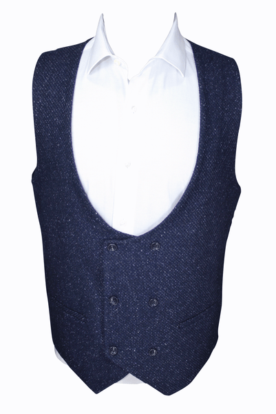 Navy Speckled Double Breasted Tweed Waistcoat